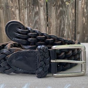 Accessories - Vintage/Belt/Black Leather/Thick Braid/Silver buc.